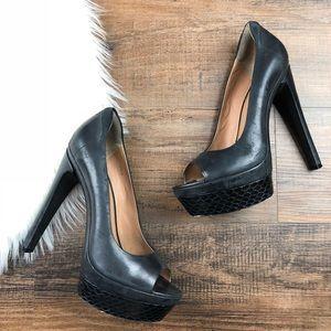 Rachel Zoe Black Peep Toe Embossed Heels